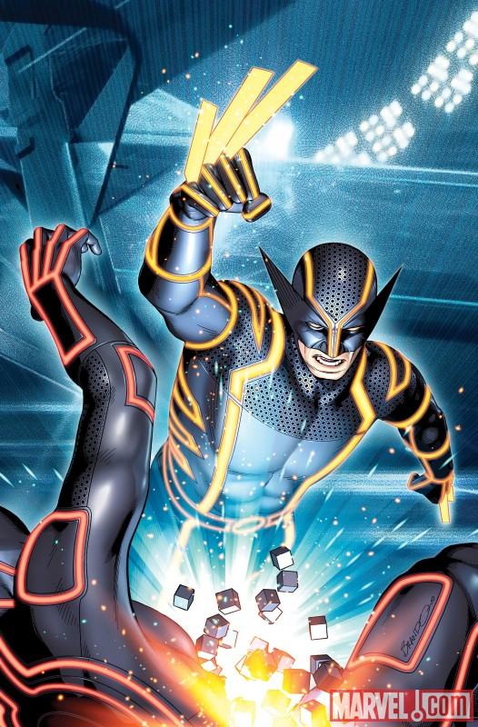Iron Man, Spider-Man, Wolverine and more get the TRON treatment WOLVERINE 0004 TRON VARIANT by Brandon Peterson