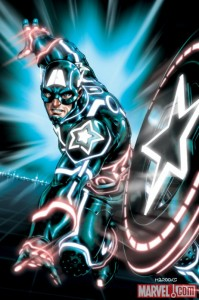 CAPTAIN AMERICA 0612 TRON VARIANT by Mark Brooks 199x300 Iron Man, Spider Man, Wolverine and more get the TRON treatment
