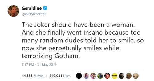 JokerTweet 500x264 I Tweeted About The Joker Being a Woman Who Was Tired of This Shit and It Now Feels Auto Biographical