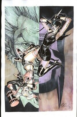 s l400 4 PUNCHLINE Vs HARLEY QUINN DC COMICS Original Art By BERNARD CHANG  | eBay